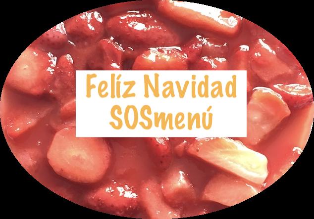 Felicitación navideña SOSmenú sobre fotografía de tarta de queso con fresas