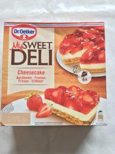 Envase tarta Dr. Oekter. Tarta de queso y fresas.