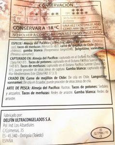 Etiqueta de pescado congelado. Marca Flete.Zonas FAO y etiquetado del pescado.