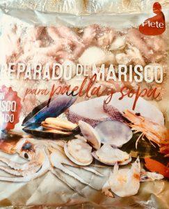 Preparado de marisco para sopa. Zonas FAO y etiquetado del pescado.