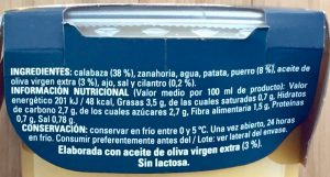 Etiqueta crema precocinada.