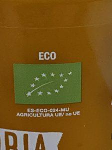 Etiqueta ecológica de la crema de zanahoria y naranja con jengibre.