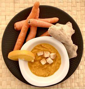 Crema de zanahoria y naranja con jengibre.